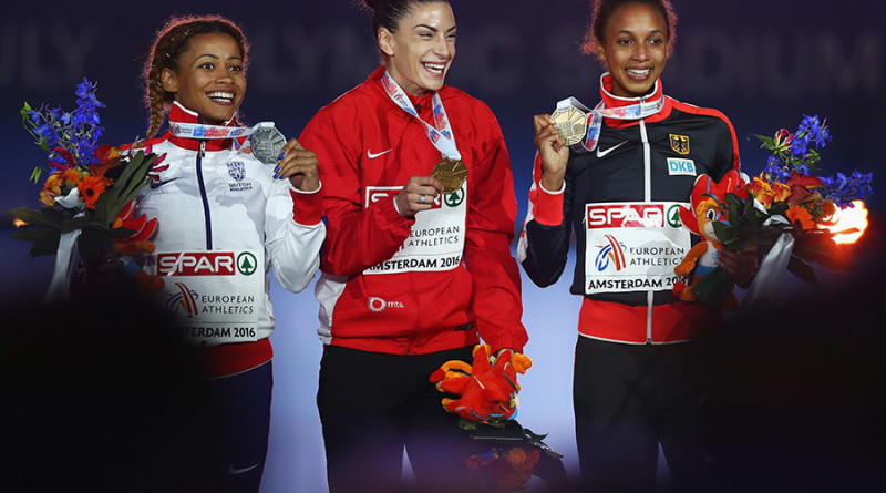 AMSTERDAM, NETHERLANDS - JULY 08:  Jazmin Sawyers of Great Britain (R), Ivana Spanovic of Serbia (C) and Malaika Mihambo of Germany (R) pose for a picture with their medals from the womens long jump final on day three of The 23rd European Athletics Championships at Olympic Stadium on July 8, 2016 in Amsterdam, Netherlands.  (Photo by Dean Mouhtaropoulos/Getty Images)